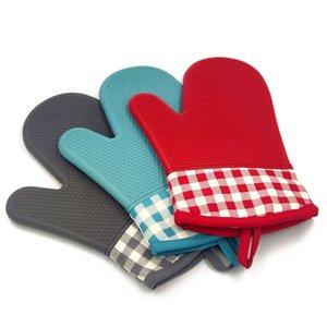 سيليكون قفازات فرن المطبخ ميكروويف قفازات مع أدوات عدم الانزلاق مقاومة للحرارة أدوات الشواء شواء WLL469