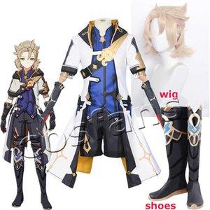 Game Genshin Impact Alchemist Albedo Cosplay Costume Men Fancy Uniforms Top Pants Coat Halloween Outfits Albedo Cosplay Wig 35cm Y0903