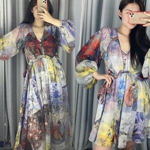 Австралия Весна / Летние Печатные Платье V-образным вырезом Платье с длинным рукавом