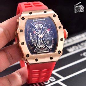 Homens de borracha pretas clássicos relógios de safira Automatic Mecânica Rosa Red Blue Tourbillion Não Data Fiber + Relógios de Pulso