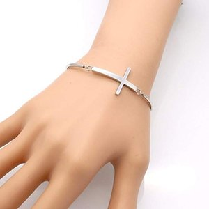 Bangle Thin Line Cross Bangles Open Personalized Simple Stainless Steel Bracelets & Religious Jewelery Pretty Gift Pulseras
