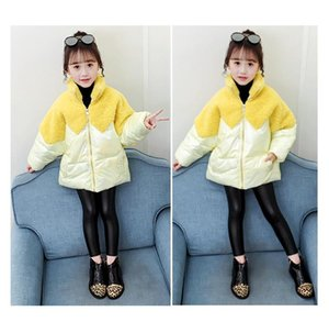 Scarves & Wraps Winter Korean Style Fashion Cotton Lining Jacket Outwear With Artificial Lamb Fur Stitch For Teenage Girls