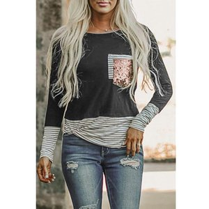 Women's T-Shirt 2021 Summer Style Striped Casual Sequined Pocket Long-sleeved Harajuku Graphic T Shirts