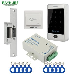 Raykube Access Control Kit Electric Strike Lock + Access Control RFID-Kennwort-Tastatur + ID-Keyfobs + EXIT DIY-Kit