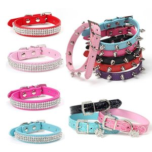 Dog Collars & Leashes Bling Rhinestone Puppy Adjustable PU Leather Pet Collar For Small Medium Large Dogs Pug Chihuahua Accessories