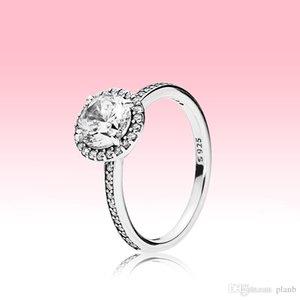 Authentique Bague de diamant CZ Sterling Sterling CZ avec logo et boîte originale Fit Pandora Style Bague de mariage Bijoux de fiançailles pour femmes