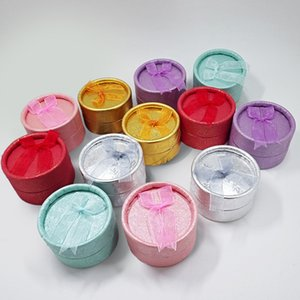Wholesale 12Pcs Cute Small Round Paper Jewelry Display Ribbon Box 7 Color Available Ring Storage Organizer Display Gift Box 5*3.5 Cm 640 Q2