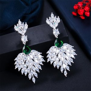 Choucong Unique Long Dangle Earrings Luxury Jewelry 925 Sterling Silver Marquise Cut White Topaz Emerald Gemstones Party Women Wedding Drop Earring For Lover Gift
