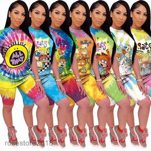 Women's Leisure tracksuit New female classic cartoon home printing tie dye two piece sets round neck Short sleeve shorts Slim Outfits