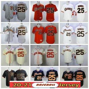 San Francisco 25 Barry Bonds Black Grey Серый Оранжевый Белый Лучшее Качество Дешевые Полная Полная Вышивка Логотипы Cool Base Flex Base Бейсбол