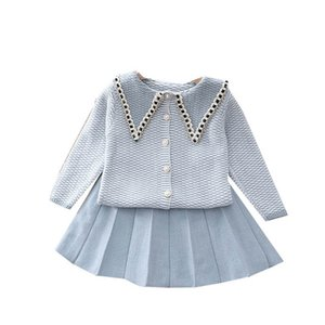 Girls Sweater Sets Kids Clothing Baby Clothes Outfits Autumn Winter Knitting Patterns Cardigan Coat Pleated Skirts Princess Suits 2Pcs B8348