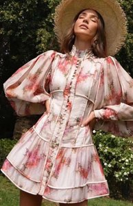 2020 Autumn Australian designer brand new, young girl pink palace style printing tiansilk dress