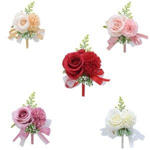 Corsaggio di nozze Fiore di seta Rosa Groom Boutonniere Pin nastro per uomo Planner Matrimonio