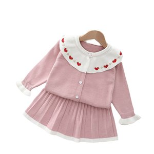 Girls Sweater Sets Kids Clothing Baby Clothes Outfits Autumn Winter Long Sleeve Knitting Patterns Cardigan Coat Pleated Skirts Princess Suits 2Pcs B8350