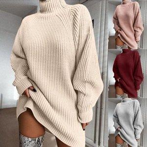 Women Turtleneck Oversized Knitted Dress Autumn Solid Long Sleeve Elegant Mini Sweater Plus Size Winter Clothes