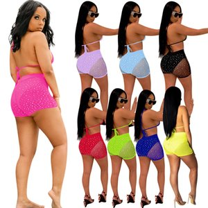 Nightclub Party clothes 2 Piece Outfits Set Summer Beach Swimsuit Mesh Sequins Bra Shorts Swimwear Suits Women Sexy Bikini