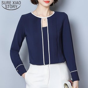 Women's Blouses & Shirts Solid Hollow Out Women Tops And 2021 Spring Long Sleeve Chiffon Blouse Elegant Clothes Blusas 9075 50