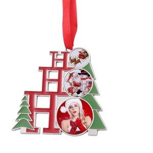 Sublimation Blank Metal Christmas Decorations Heat Transfer Santa Claus Pendant DIY Christmas Tree Ornament Writable Christmas GWE9323
