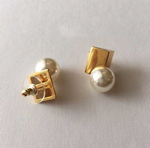 Stud earring with pearl in 18k gold plated simple design women engagement jewelry gift PS4301