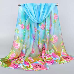 Scarves 155*50CM 2021 Women's Rose Feather Print Long Scarf Sunscreen Luxury Shawl Gift