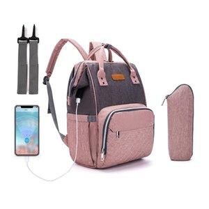 USB Fashion Mummy Maternity Nappy Bag Large Capacity Travel Backpack Nursing for Baby Care 210907