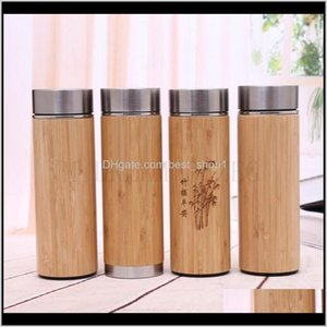 Natural Bamboo Tumbler 350Ml 450Ml Stainless Steel Liner Thermos Bottle Vacuum Flasks Insulated Bottles Coffee Tea Mug Bamboo Cup Xhec Ikfv2