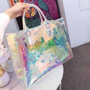 Женский ослепительный цвет прозрачный портативный лазерный мешок плеча пляж сумки сумки сумки женщин девушки сумка сумка