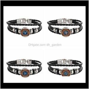 Zodiac Leather Bracelet 12 Constellations Sign Noosa Snap Punk Diy Handmade Jewelry Glass Cabochon Women And Men Wholesale Drop Pmh3I Crgb8