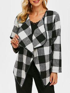 Women's Trench Coats Checked Binding Draped Tweed Jacket