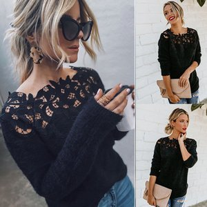 Womens Autumn Winter Warm Fluffy Sweater Tops Ladies Lace Jumper Pullover Blouse