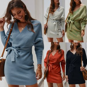 Women's Long Batwing Sleeve Sweater Mini Slim Wrap V Neck Knitted Backless Bodycon Pullover Elegant Tunic Sweaters Dress with Belt For Female