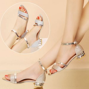 sandal summer bright leather low thick open toe bag heel button strap women's sandals versatile