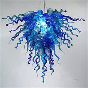 اليد في مهب الزجاج كريستال الثريا أدى الفن قلادة مصباح الأزرق W80X70CM الإضاءة الداخلية الحديثة غرفة المعيشة الديكور