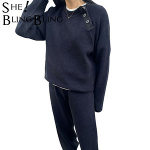 Swebling Hiver Femmes Pulls Sweatshirt Sweat-shirt Sweat-shirt Sportif Pantalon Sportif Buttons Oversize Lady TrackSuit Costumes Pull