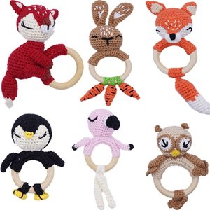 Baby Teether Toy Crochet Animal Pattern Rattle Bird Rabbit Fox Wooden Teething Ring Knitted Rattle Bell Newborn Infant Nursing Soother Toys