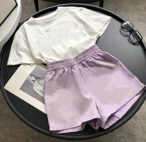 Женская мода повседневная футболка с коротким рукавом + жаккардовые шорты ткани набор 100% хлопок с коротким рукавом. Футболка с коротким рукавом Вышитая буква дизайн женской
