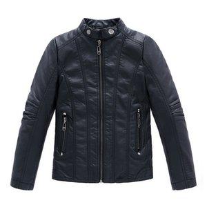 Малыш кожаная куртка джентльмен зимний мальчик кожаная куртка сплошной черный молния PU куртка пальто для 3-12 лет мальчики детей верхняя одежда одежда