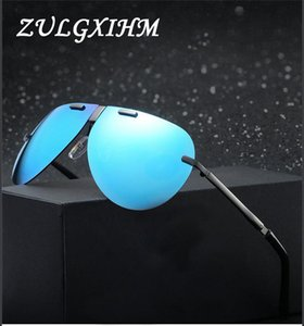 Cor Filme de luxo Moda Dobrável Polarized Sunglasses Homens Mulheres Vintage Portátil Dobrável Metal Frame Sun Óculos