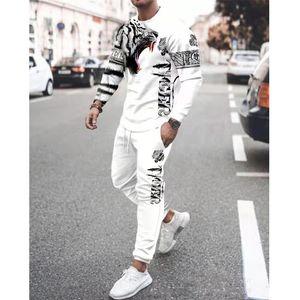 Men's Tracksuits 2021 Casual Spring Autumn Two-Piece Men Sport Suit T-Shirt Fashion Print Hip Hop Streetwear Leisure Sportswear