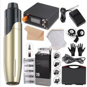 5 Set Professional Tattoo Gun Kit Motor Power Supply Rotary Pen Machine Hybrid Cartridges Needles For Permanent Makeup Eyebrow Microblading Body Art