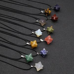 Natural Stones Star Necklaces Women 3D Crystal Quartz Tiger Eye Agate Pendulum Pendant Necklace Black Wax Rope Chain Fashion Choker GWA6157