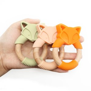 5pc Silicone Baby Teether Fox Animals Wooden Rings Teether Rodents Beech Wood Rattles Chew Fox Rings Baby Products 201123 175 Z2