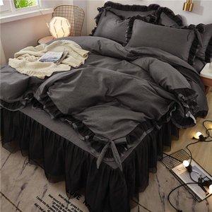 Bedding Sets Black Lace Set Twin Full Queen King Bedspread Princess Duvet Cover Pillowcase Girls Bed Skirt Luxury Bedclothes