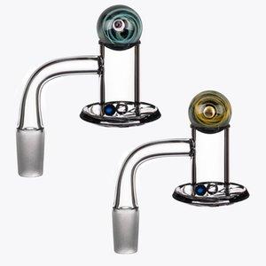 Verhindern Sie Ölspritzer-Quarz-Banger-Nagel-abgeschrägte Kante + Spinning Carb Cap + Terpenperlen mit 10mm 14mm 18mm männlichen Frau für DAB-Rig-Wasserbong