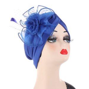 Big Flower Women Turban Bonnet Fashion Indian Hat Arab Wrap Muslim Headscarf Caps Wedding Party Headwear