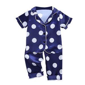 Autumn Baby Silk Pajamas Kids Girls Boys Pyjamas Clothes Point Print Sleepwear Set Short Sleeve Blouse Tops+ Pants 2PCS Pijamas 210915