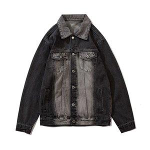 Color Block Gradient Revers Denim Jas Men and Women Harajuku Oversized Clothing Jeans Yacht Streetwear Loss Bomber Jacket