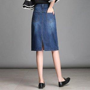 Skirts 1021 Women Denim Skirt Female 2021 Spring Summer Slimming Long Paragraph Casual Bag Hip Split Step Girl