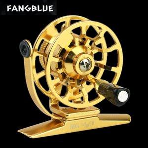 Carrete de pesca de invierno 44 / 55mm Bobina de hielo ligero izquierda / derecha Toda la rueda de oro de metal para accesorios de lucio de baquetas.