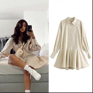 ZA Bureau Cotton Chemise d'automne Femme Robes à manches longues Drapé une ligne Mini élégant Mujer Vestidos